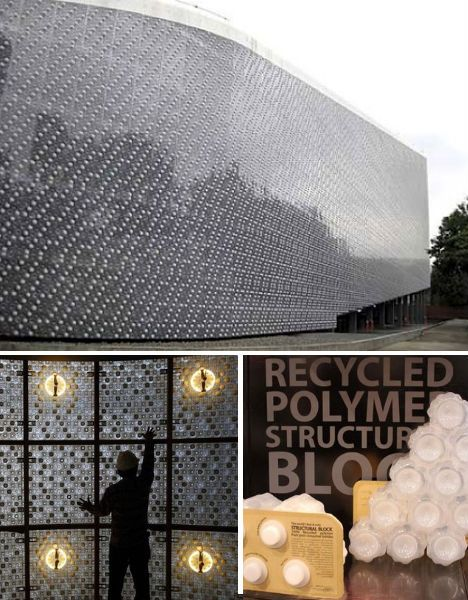 Drink it In: 14 Buildings Made from Plastic Bottles roving that there are all kinds of uses for recycled PET plastic, Taiwan-based engineer Arthur Huang processed 1.8 million used plastic bottles into honeycomb-shaped 'bricks' for a boat-shaped exhibition hall called the EcoARK. Built for Taipei's flower show, EcoARK was constructed for just one-third the cost of a conventional structure. Once locked together, the bricks are extremely strong