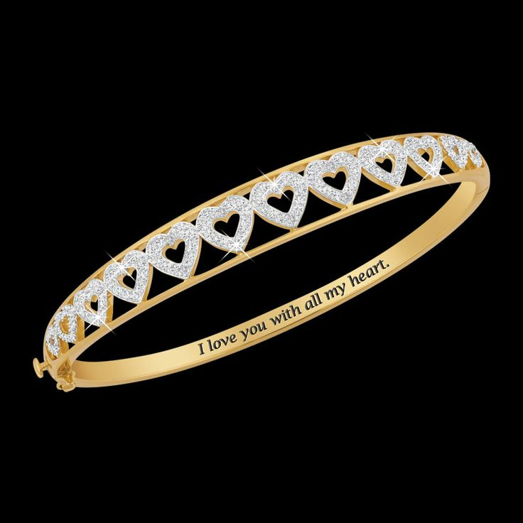"""I Love You"" Diamond Bangle - The Danbury Mint: Awesome Jewelry, Mint Jewelry, Quality Heirloom, Diamonds Bangles, Danburi Mint"