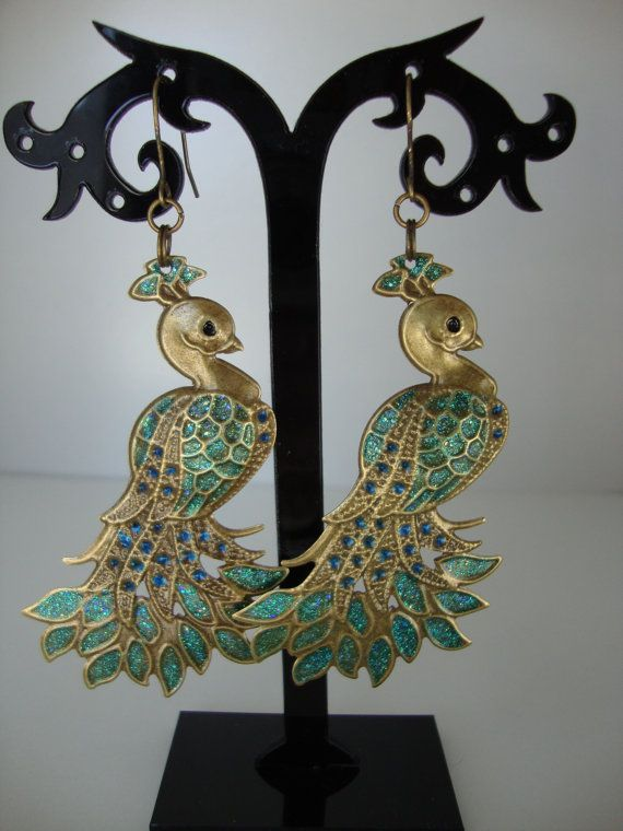 Hand painted antique bronze peacock earrings $30