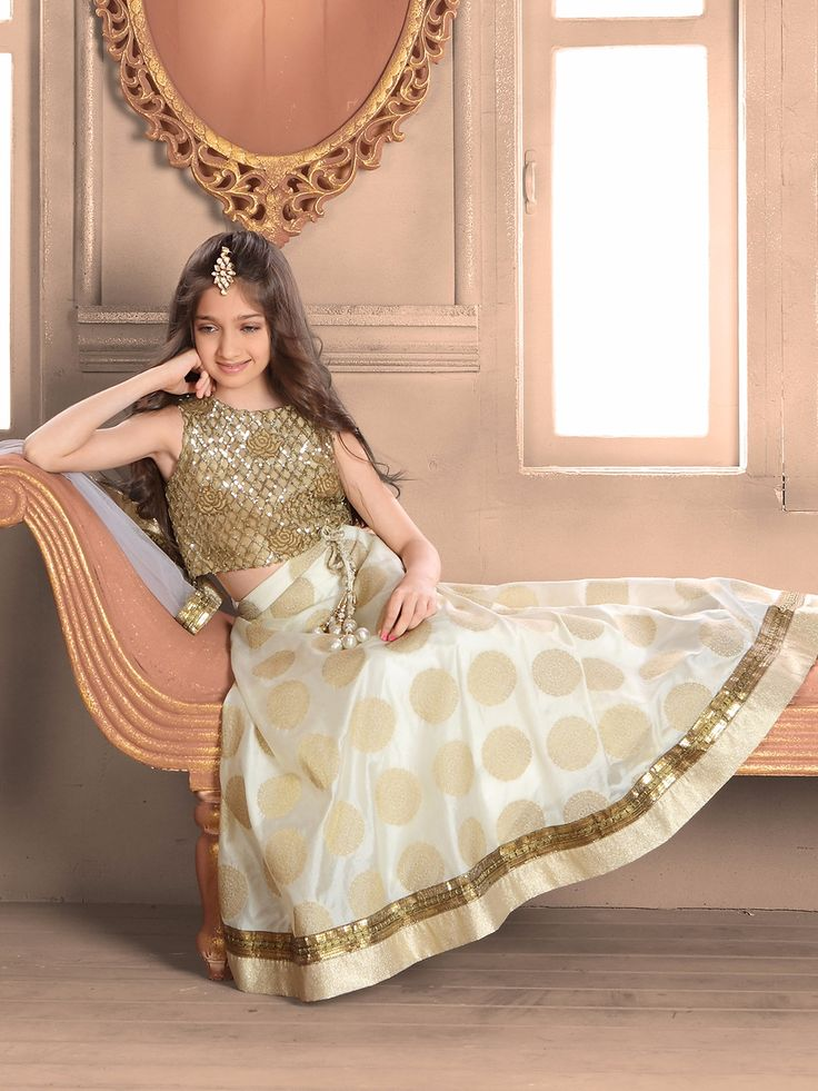 Silk Off White Choli Suit Lehenga For Girls Kids Gown