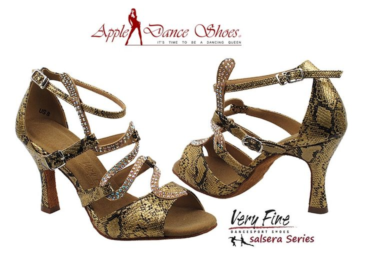 SERA7017 Gold Snake **Also available in Tan Satin, Silver, Copper, Blue Snake, & Black** Appledanceshoes.com