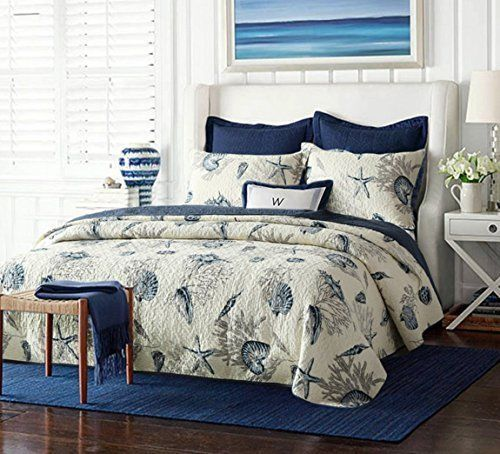 3PCS Cotton Comforter Quilt Sets Queen Starfish Pillowcases Bed Sheets Bedspread #HNNSI #Country