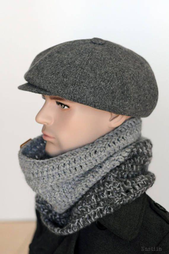 Gray newsboy cap Mens newsboy hat Peaky Blinders hat Autumn ... 20ef0abac511