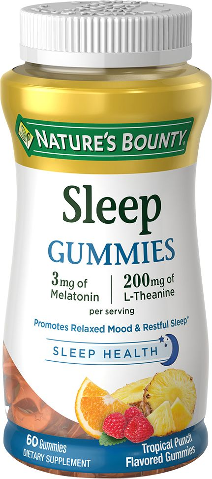 Nature's Bounty® Sleep Gummies are a delicious way to support a relaxed mood and restful sleep.* These Tropical Punch gummies are moon and star-shaped, made with natural flavors, and provide 3 mg of Melatonin and 200 mg of L-Theanine per serving. Melatonin works in harmony with your natural sleep cycle to support sound, restful sleep, while L-Theanine helps to support a calm and relaxed mood.* Get the support you need for occasional sleeplessness, jet lag, or simply an improved quality of…