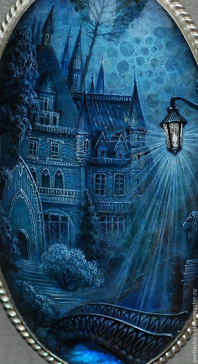 Купить Старинный зАмок..(отложено) - синий, лаковая миниатюра, живопись маслом, живопись на камне