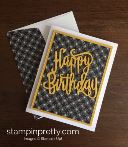 Happy Birthday Thinlit Die & Happy Birthday Gorgeous birthday card idea. Mary Fish, Stampin' Up! Demonstrator. 1000+ StampinUp & SUO card ideas. Read more https://stampinpretty.com/2017/05/clean-classic-happy-birthday-card.html