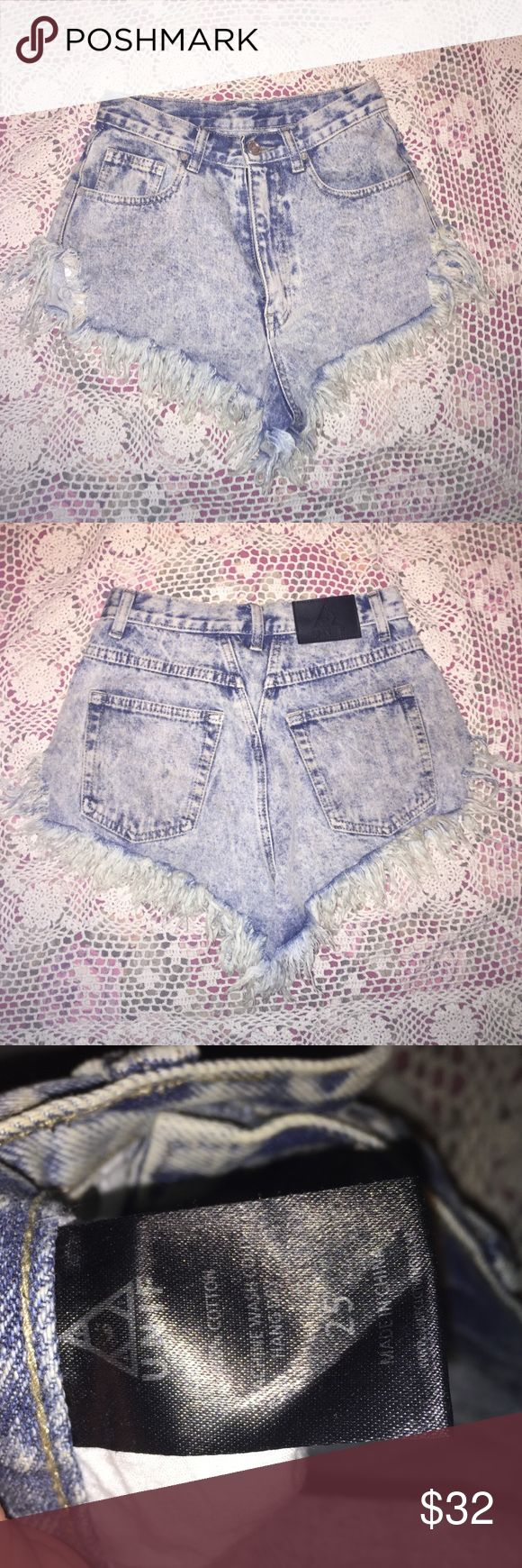UNIF high waisted shorts Acid wash high waisted shorts with frayed edges and a dolphin hem. Great condition and no damage👌🏻price is negotiable UNIF Shorts Jean Shorts