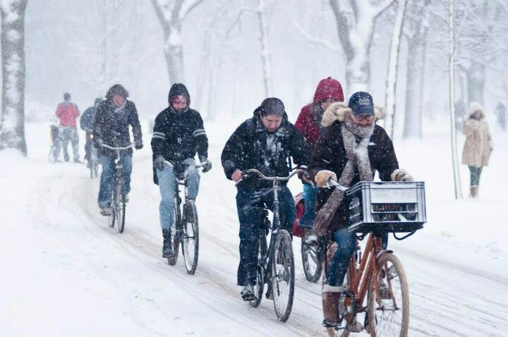 Even in the snow the people of Amsterdam will keep on cycling