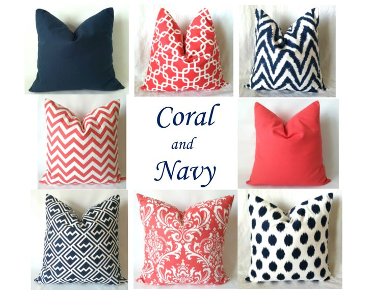 Navy Coral Euro Sham Pillow Covers - 22 x 22, 24 x 24, 26 x 26, One, Mix & Match, Coral Navy Pillows, Chevron Damask Geometric Pillows by PillowStyles on Etsy https://www.etsy.com/listing/186555028/navy-coral-euro-sham-pillow-covers-22-x