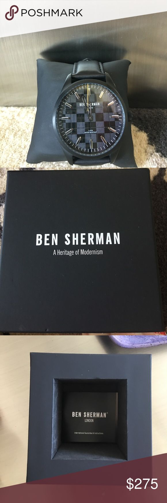 Men's Ben Sherman watch new with leather watchband New in box . Never worn wonderful Ben Sherman watch .. black leather stap . Beautiful Chess Board face Ben Sherman Accessories Watches