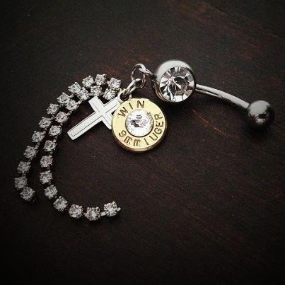 Bullet Jewelry by JECTZ® - Dangle Cross Belly Bullet Ring, $24.95 (http://www.jectz.com/dangle-cross-belly-bullet-ring/)