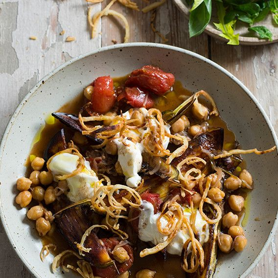 Lebanese spiced chickpeas & eggplant with pita | Meat Free Week