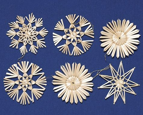 Set of Six Straw Star Ornaments; $9.95 from Poland by Mail.