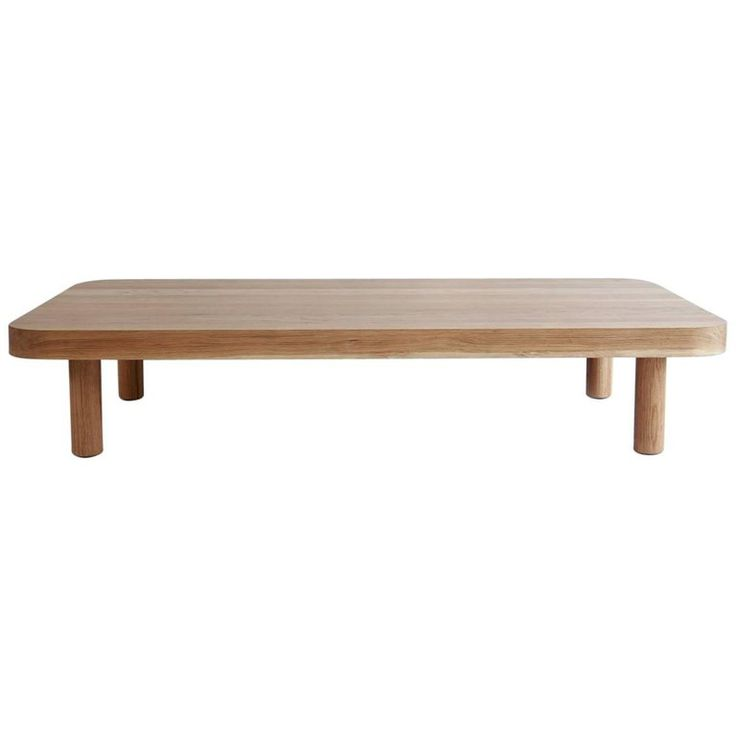 For Sale on 1stdibs - Nickey Kehoe collection white oak rectangular radius coffee table.