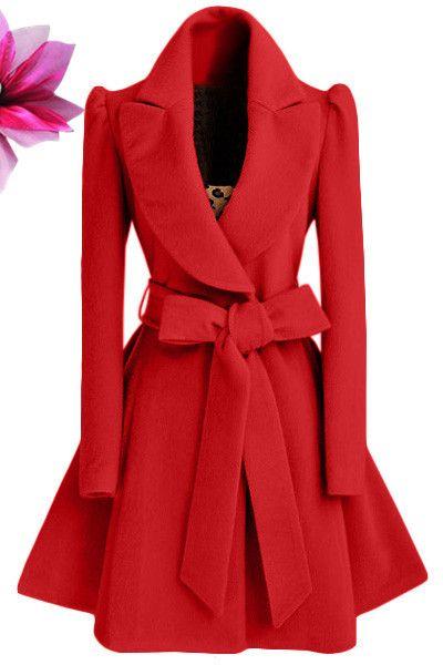 Women Trench coat Turn-down Collar