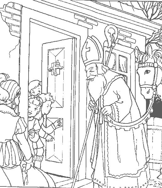 i think this is a coloring book page which i recently saw used as wrapping paper. sounds cute!  St Nicholas