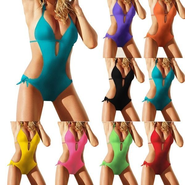 Sexy Damen Monokini Deep-V Bikini Set Bandeau Blogger Strand Badeanzug Push-Up