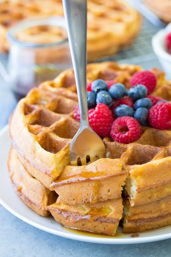 Light And Crispy Buttermilk Waffles These Healthier Waffles Take Just 10 Minutes Prep Store Them I Buttermilk Waffles Recipe Waffle Recipes Homemade Waffles
