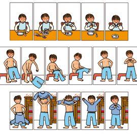 """Illustrations pour séquences pédagogiques TED. Commande personnalisée. """"Manger tout seul"""", """"Mettre son pyjama""""."""