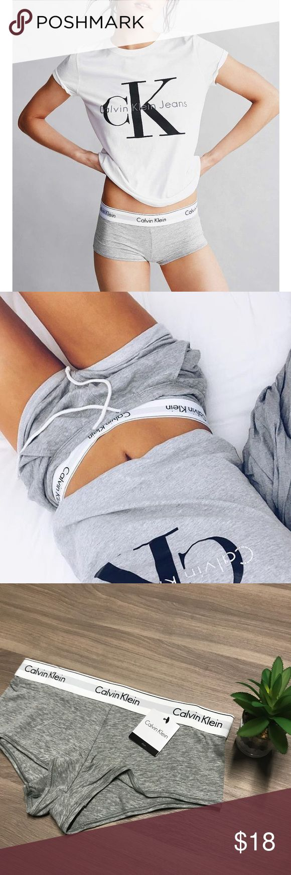 Calvin Klein Boy Short Undies NWT! Super trendy gray with large logo all the way around the white band. Sz Small.   Comment with questions No trades Offers welcome through the offer feature Bundle to save even more! Can ship in two days max! Thanks for looking!  Xoxo Amanda Calvin Klein Intimates & Sleepwear Panties