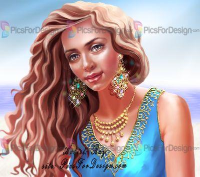 Знойная - Иллюстрация магазин PicsForDesign.com. PSP трубки, PSD иллюстрации, векторные иллюстрации. Кареглазая,смуглая, магнетическая девушка в знойный день на берегу Индийского океана.