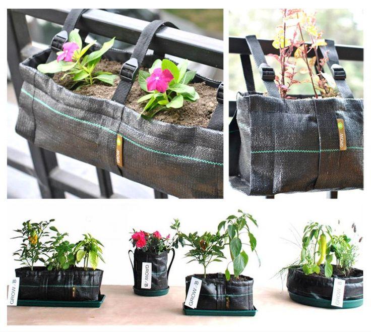 Macetas de tela reutilizables. Excelente idea para pequeños espacios y terrazas.