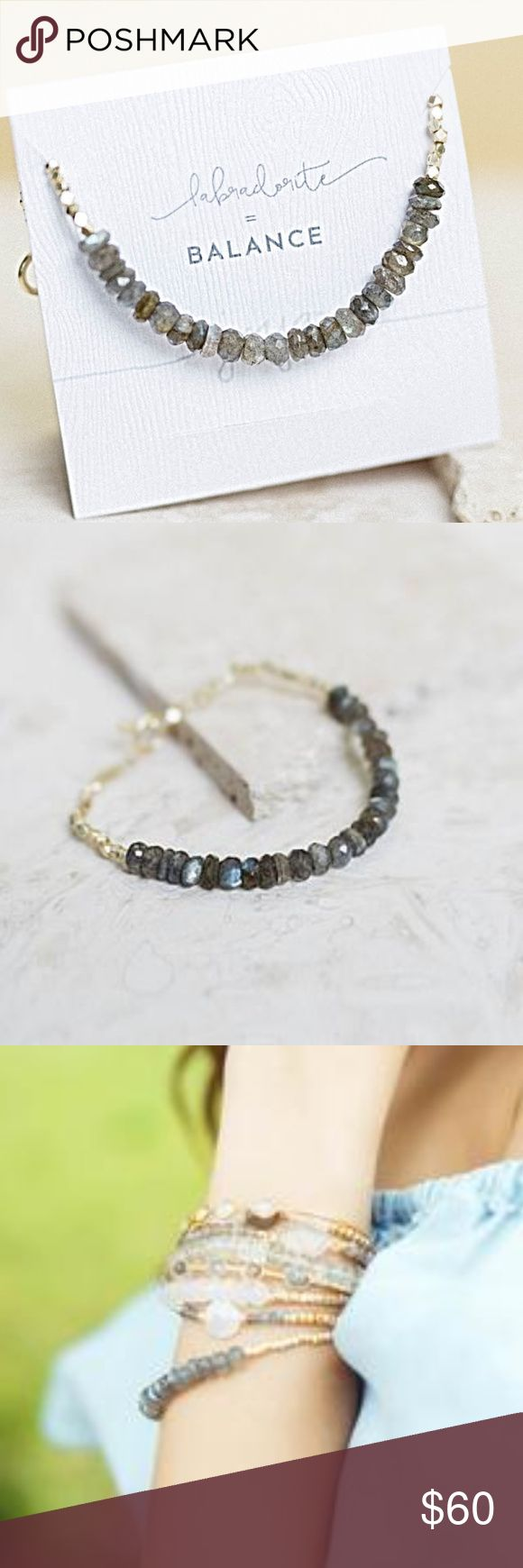 """Verena Labradorite Bracelet Natural, faceted moonstone and pyrite beads. Toggle clasp in solid brass. Perfect for layering. 7.5"""" long  $10.00 from each Verena Bracelet sold will be donated to The Pink Agenda, an organization committed to raising money for breast cancer research and care, as well as awareness of the disease among young professionals.  Price is firm unless bundled. Jewelry Bracelets"""