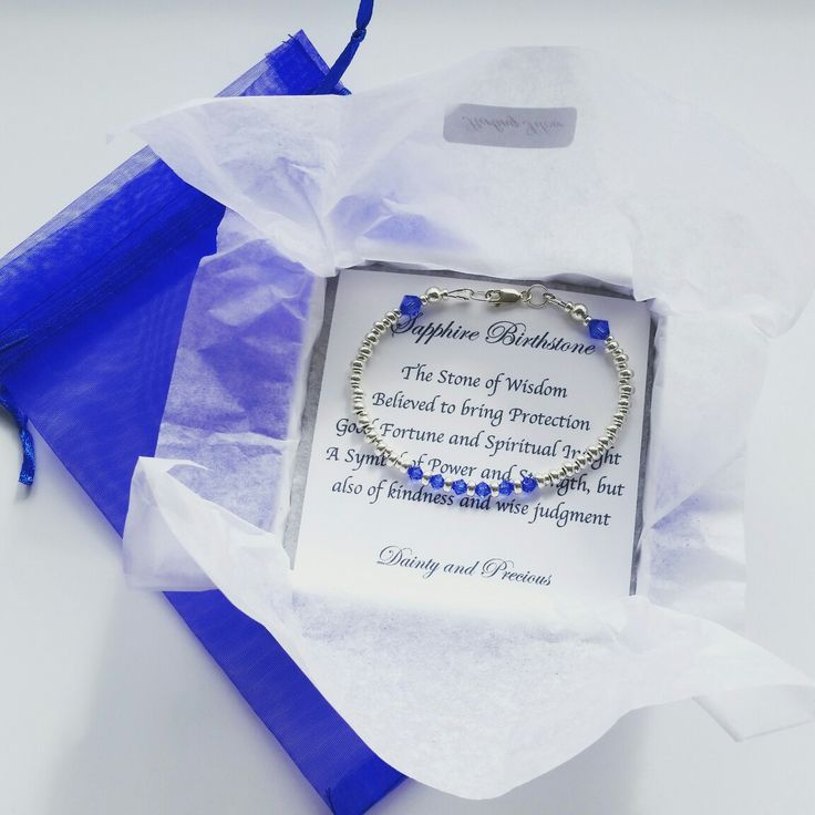 Custom Made Brithstone  Bracelet, Sterling Silver Jewellery, Birthday Gift for her, Sapphire Swarovski Crystals