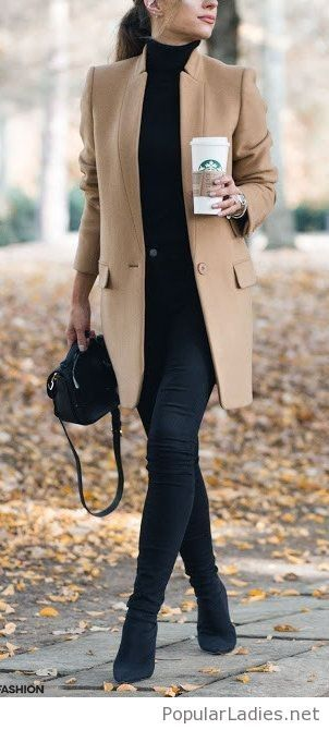 All black with nude coat