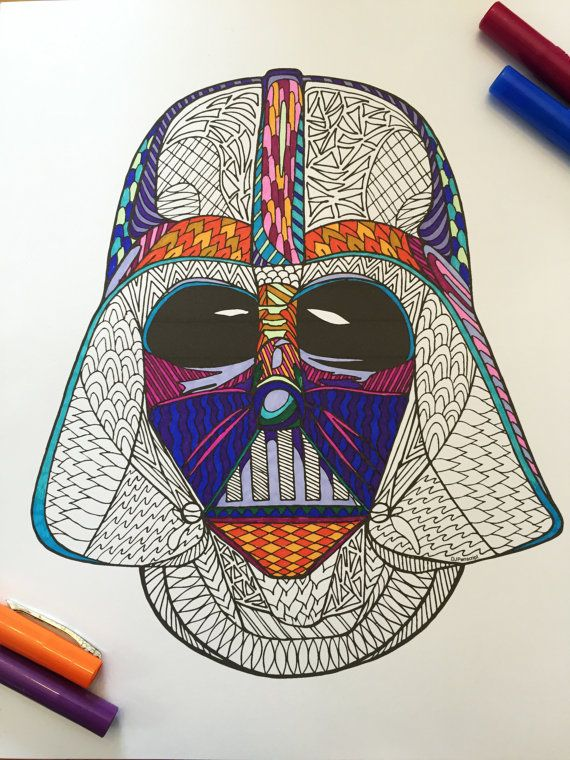 PDF Zentangle Coloring Page: Star Wars Darth Vader Helmet by DJPenscript