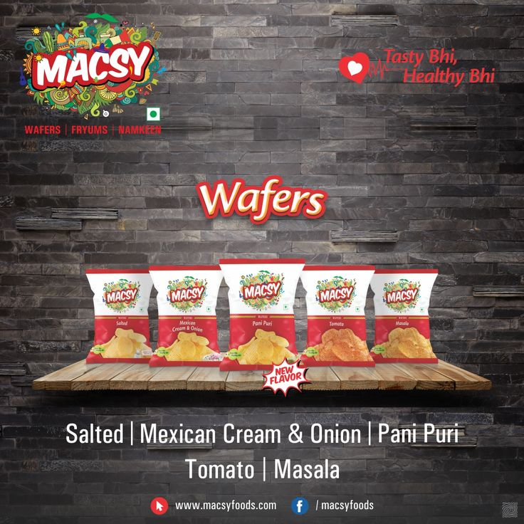 Macys Foods is the Pioneer in the introducing PANIPURI WAFERS. Our other flavors are Salted, Maxican Cream & Onion, Tomato and Masala. #MacsyFoods #Wafers #Flavours #GoodFood #HealthyFood #GrowUpSmart