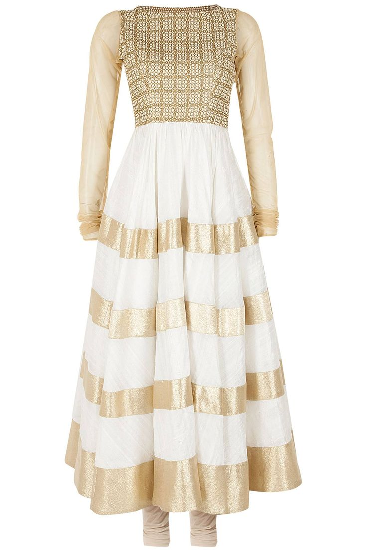 Ivory and gold embroidered anarkali set available only at Pernia's Pop-Up Shop.
