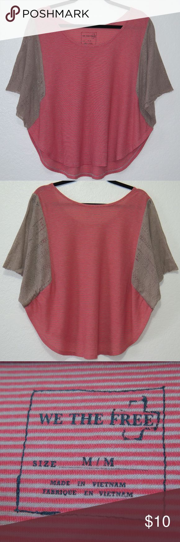 "We The Free Batwing Top Red and beige knit striped top with lace batwing sleeves. Normal wear. Has minor fraying from normal wash/wear throughout sleeves, as shown. Good condition.   Mannequin measurements: 5'10"" - Bust: 32"" - Waist: 24"" - Hips: 33"" Free People Tops"