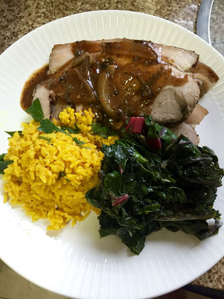 Slow-Cooker Pork Roast which was marinated for 24hrs. & cooked for 5hrs in the All-Clad Slow-Cooker. It's served with Steamed Red Kale & Escarole and Turmeric Rice. #CookingWithChris #CookingFoodWithChris #Savory #Sweet #Eeeeeats #eatingnyc #delicious #eater #foodgram #foodporn #forkfeed #feedfeed #foodstagram #SundayDinner #foodgasm #nofilterneeded