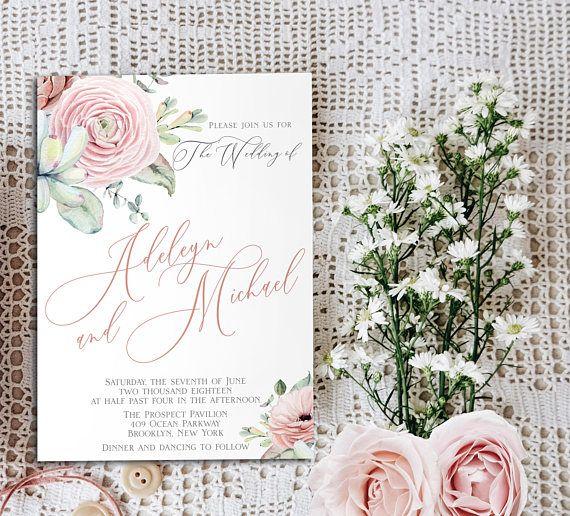 Dusty Pink And Dark Green Wedding Invitation Cz Invitations Floral Wedding Invitations Classy Wedding Invitations Vintage Wedding Invitations