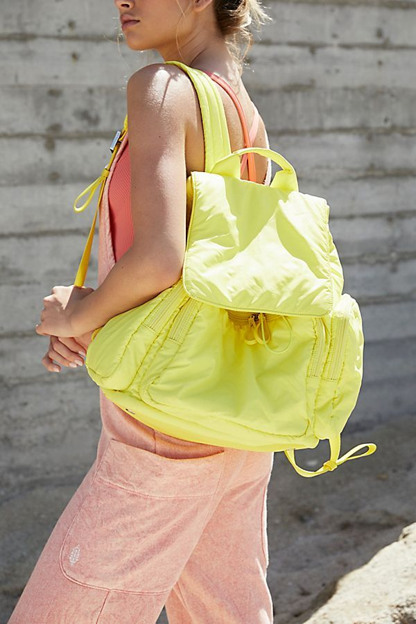 Caraa Cirrus Backpack at Free People, Yellow, One Size Backpack Bags, Leather Backpack, Drawstring Backpack, Free People Store, Irina Shayk, Italian Leather, Bag Accessories, Night Out, Style Me