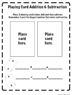 Free Printable - Playing Card Addition and Subtraction