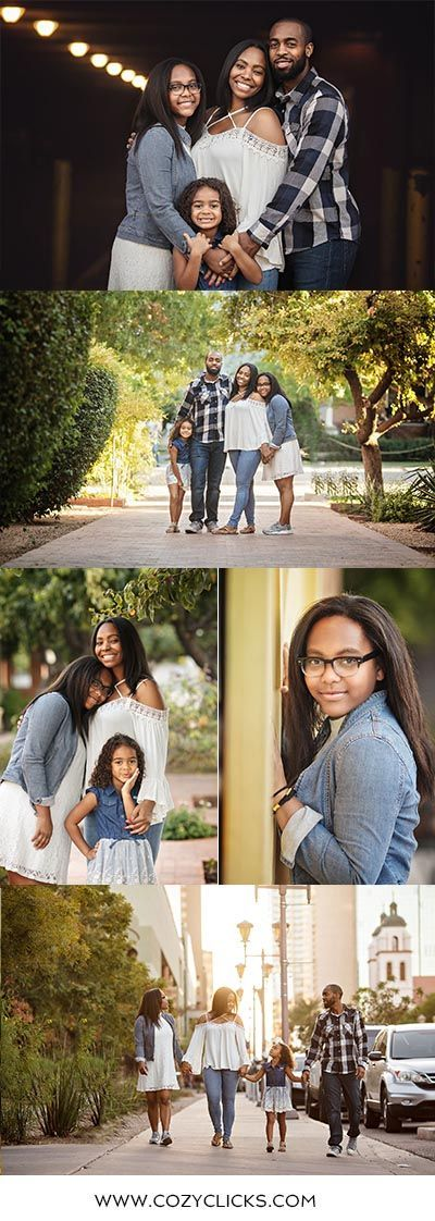 Fun downtown Phoenix poses for family photography.  Family of four poses in Downtown Phoenix taken by Phoenix family photographer Cozy Clicks
