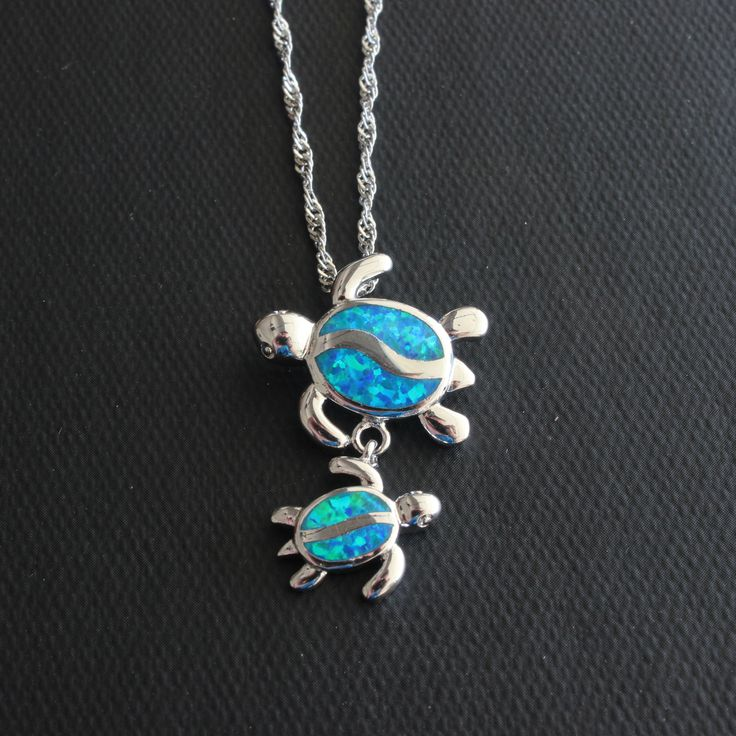 Blue Fire Opal Swimming Sea Turtle Necklace