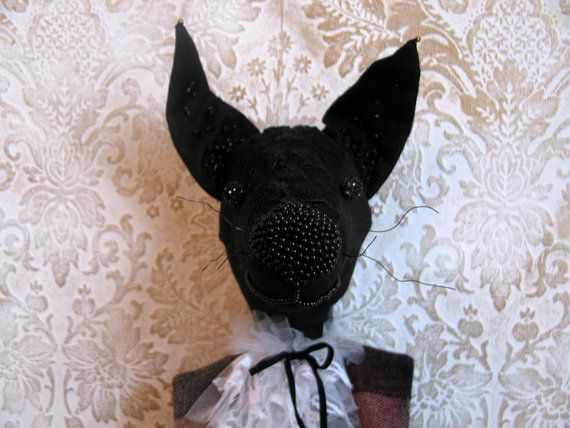 Funny crazy dog Charlie embroidered beaded doll by LolaaCreates, zł329.00