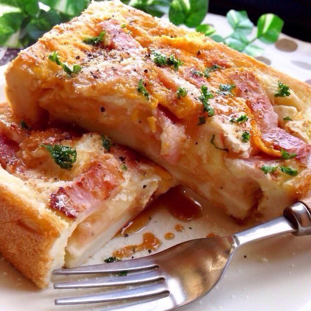 レシピはこちら http://pecolly.jp/user/profile/18513 - 41件のもぐもぐ - 明太子ポテサラ&ベーコンチーズエッグの贅沢トースト♡ by уцц