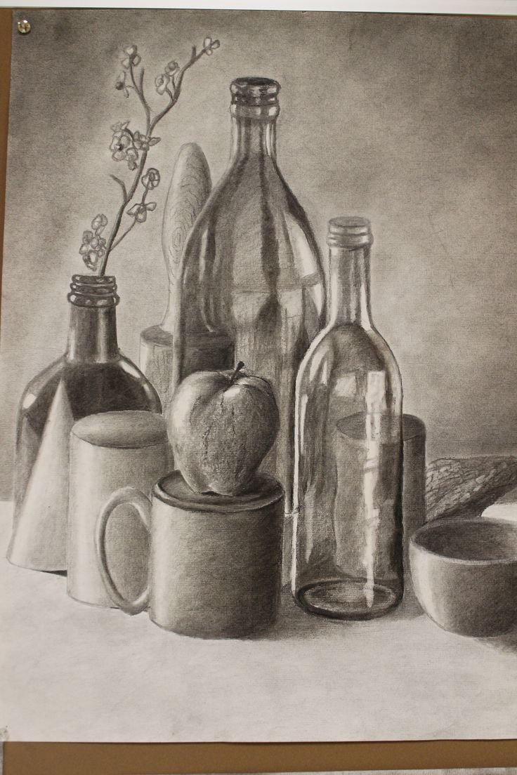 , Charcoal still life I like the shading used to develope the realism of he objects in contrast with the reflection and light