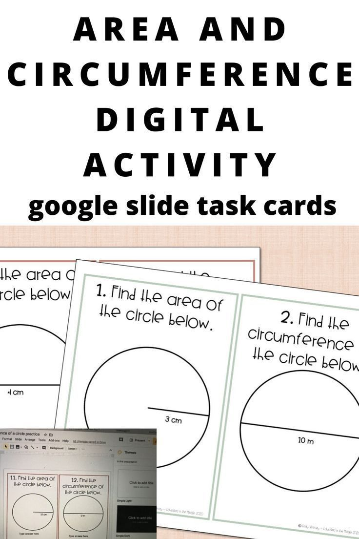 area and circumference of circles activity digital   Google classroom  middle school [ 1104 x 736 Pixel ]