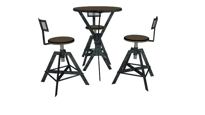 Large preview of 3D Model of table et tabourets rg01
