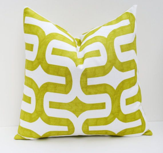 Euro Pillow Cover. Euro Pillow Shams ONE 22 x 22 Green Pillow Cover.Lime Green Pillow.Green and White. Printed fabric on front and back