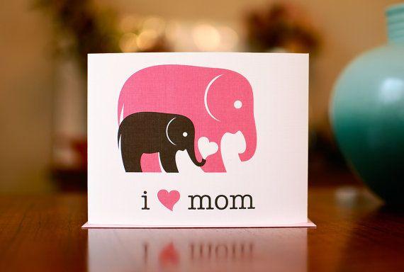 I Heart Card Carte de fête des mères ou de nouveau bébé avec des éléphants – 100% de papier recyclé   – Happy Mothers Day
