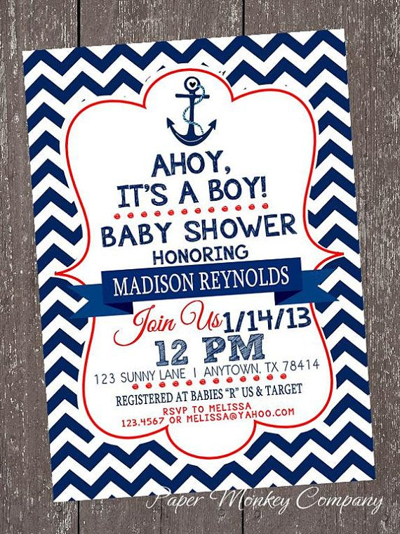 Nice Chevron Nautical Baby Shower Invitations   1.00 Each With Envelope