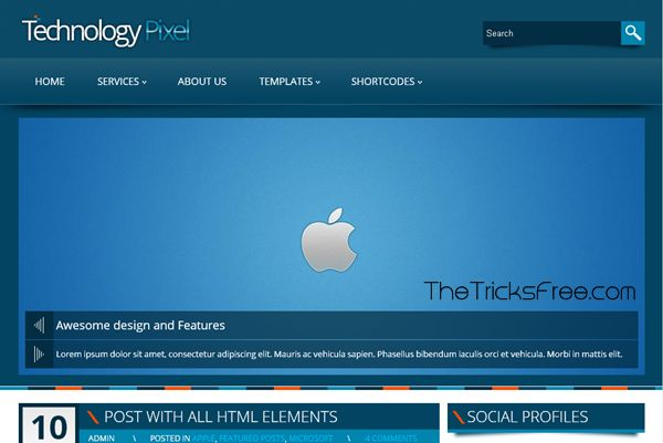TechnologyPixel 2013 Wordpress Template/Theme - Thetricksfree