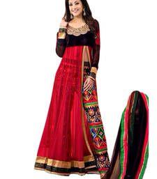 Buy RED embroidered net semi-stitched salwar with dupatta anarkali-salwar-kameez online