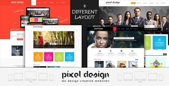 Pixel Design Responsive Theme   http://themeforest.net/item/pixel-design-responsive-theme/5082916?ref=damiamio            Pixel Design is a professional multipurpose template for any business or web studios & much more, it's fully responsive design ready to any device. The template is created in accordance with the latest web trends.   4 Fully Different type of Layout   Pixel Design Features   Fully Responsive  Working Contact form  Major Browser Compatibility IE8+, Firefox, Chrome, Safari…
